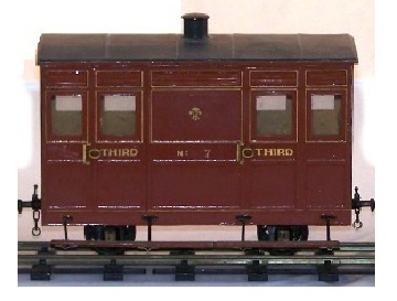 Photograph of Festiniog Ashbury coach models made of card