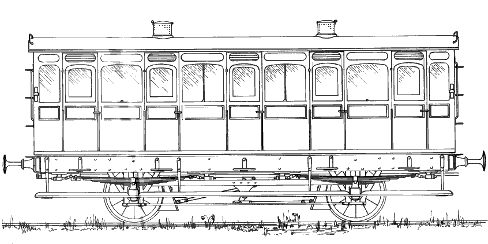 Drawing. Monmouthshire Rly Third class Coach. Drawn by Colin Binnie.