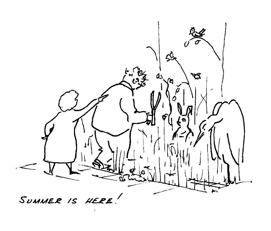 One of Colin`s cartoons depicting his distain for gardening