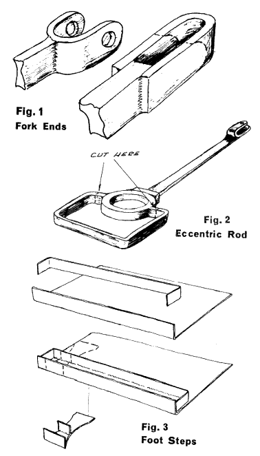 Fig 1, Fork ends. Fig 2, Eccentric rod. Fig 3, Foot steps.