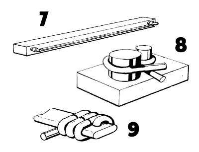 sketch, fixtures for bending wire hooks and links