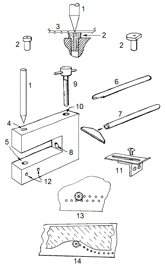 exploded diagram of the dumy rivet jig or pimple poper
